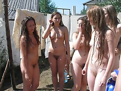 Nude amateur nudists having fun