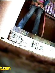 Pissing chick get busted and filmed in park loo