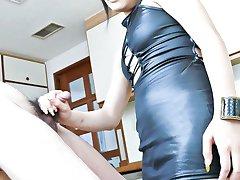 Haruna Katou Asian in tight dress gets sperm from sucking boner