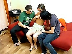 Guys seduce neat gal
