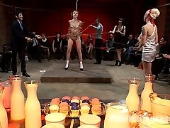 Lorelei Lee orchestrates the flawless disgrace for tastey and virginal Kristine Kahill, covering her perfect natural bod in icing and milk and making her a dessert for a a small group of armory regulars to enjoy. She is pounded hard in her mouth and cunny, made to spunk, pulverized by dicks on stuffs, strangled in sweets, and sent to the shower to get cleaned off.