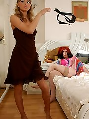 Hot sissy baring his cheeks seductive a cable-on armed babe to drill his ass