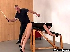 Yet again, Ines has to be disciplined. It seems our spankings have no effect on his dark haired vixen. Our spanking Master knows exactly how to whip this girl into shape.