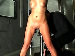 Bullwhipped nude on iron pale