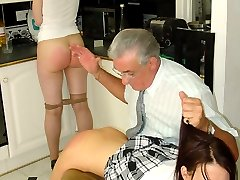 Two young beauties spanked and caned on their bare bottoms