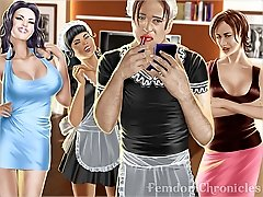 Dominant lady practices sissification and crossdressing on male slave 3D artworks