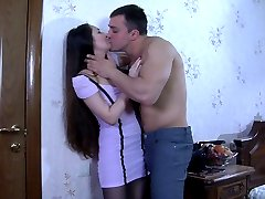 Long-haired sweetie gets talked into pantyhose hardcore by her studly guy