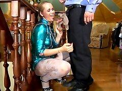Uniformed maid chooses white patterned tights for a date with a hotel guard