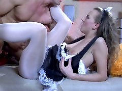 Pantyless maid in cute white patterned tights gives head and opens her box