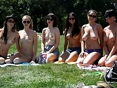 Sexy babes displaying their tits at the park