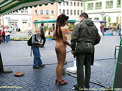 Jenny have fun in public streets