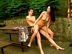 This brunette teen wants her sensitized pussy boned right now. She doesn`t want to go inwards to the room, she wants to be screwed on the picnic table.