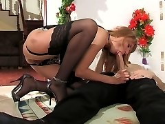 Freaky chick in lacy stockings doing nasty things satisfying her sex fever