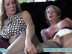 Blonde shemale wanks big beefstick before cuming on scorching nylon ass