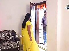 Desi telugu aunty romance with Fridge mechani