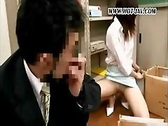 Young Asian office tramp gets it on with her dirty old boss