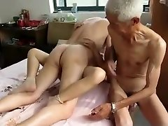 Extraordinaire Homemade video with 3some, Grannies scenes