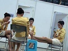 Samimi Asyalı Hostes Naylon Feet