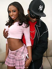 Hot body ebony babe hikes up her pink skirt for a fat black dick