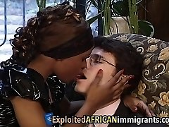 African Babe Loves Riding Ginormous White Schlong