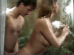 Old-school buxom porn princess sucks huge cock in the shower then fucks