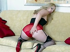 Blonde tease in vintage lingerie high-heeled shoes nylons undies wank
