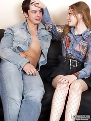 Lewd babe in fishnet tights ready for kinky experiments with her hot friend