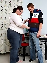 The horny BBW teacher gets fucked from behind and her pussy looks great filled to the brim