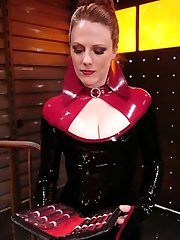 Latex Goddess Lydia McLane lords her energy over slave boy rick as he writhes in an escape attempt from strap bondage while under the laughing Dominas whip.  A chilling sounds scene follows, and Lydia proceeds her humiliating assault by commanding rick to recite 'I like how my little pussy is getting fucked' while widening out his urinate pussy with the thick, steel hard-ons.  In the end, rick is draped and pounded in the ass while Lydia strokes her gloved mitts over his firm, sore cock.  Maybe she will even allow him to come?