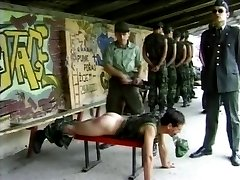 Military spanking with leather belt