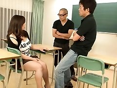 Yume Sazanami has hefty tits fondled and fellates dick in classroom