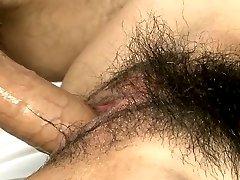 Naughty chesty Japanese goddess Akimi gets hairy twat fucked hard