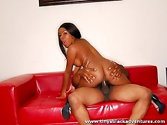 Black chick likes to sit on top of a big black cock