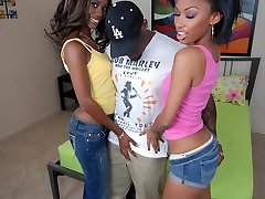 Bella Moretti and Heidi Waters are hot black women enjoying a lovely 3 way in bed