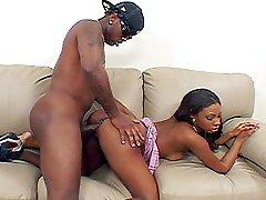 Black stunner in hot rosy miniskirt gets her taste of hard python cock