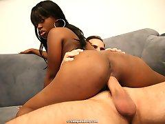 Hot ebony girl likes sucking big white dick