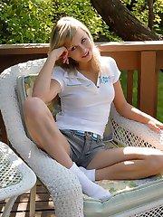 Teen Kasia Dirty White Cuff Socks Naked Blonde Girl