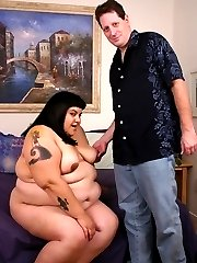 Sexy young bbw Ursula on her knees taking hard cock thrusting in her pussy from behind