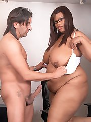 Sleazy black BBW secretary fucks engaged boss and ruins him forever