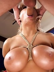 When Jasmin's slutty mom tries to seduce her step daughter's sheepish boyfriend, she whips out his dark side. Mom get's smacked, electrocuted and strapped down for a penalizing, knocker bouncing fuck that makes her sorry she hit on her innocent stepdaughter's bf.Alyssa Lynn's big faux tits sight astounding tied up and bouncing as she get's pulverized by Michael Vegas. This video includes taboo love, phat tits, ball gags, flogging, restrain bondage and rough sex.