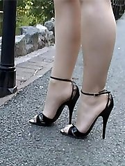 Kylie is seen here doing what she enjoys doing hottest! That is stimulating your gals shoe fetish wearing a super-cute tempting shoe with a gorgeous 5 inch heel and very thin straps