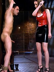 Rico is put to the test with this cold hearted hoe! Raven uses CBT, paddling and wire-on bum fucking to torment her slave.