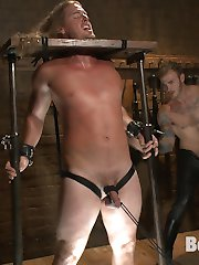 Kip Johnson struggles against the belts strapping him down to an iron cage, not knowing what awaits. House dom Christian Wilde emerges from the dark and inspects his plaything, testing Kip's nipples and package with heavy blows. Mr. Wilde shoves Kip into a low horizontal stock, pressing the sub into a difficult squatting position. Kip's long hair gets stapled to the wood, holding his head in place for a facefucking from Mr. Wilde. Moving Kip to a taller stock, Mr. Wilde ropes his cock and balls down to the floor. Kip receives a painful edging torment before Mr. Wilde flogs Kip's torso and ass raw. Now squirming in a full rope body harness, chest decorated with ample clothespins, Kip gets cropped and fucked by Mr. Wilde. Cum hungry and gagging on Mr. Wilde's cock, Kip jerks himself off on Mr. Wilde's command before accepting the dom's hot cum all on his face.