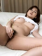 Mai Hanano Asian has hairy nooky in huge ejaculation from massager