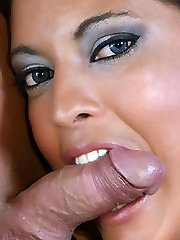 Sexy damsel Vivian feasts on a cock and got her all-natural hairy pussy plumbed all over the floor