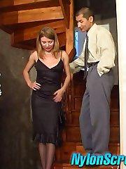 Red hot secretary in silky stockings revealing her fucking skills at work