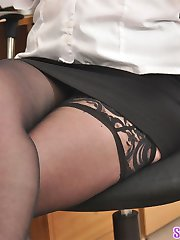 Secretary slut strips in the office