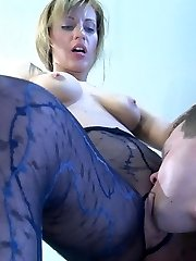 Rigorous looking babe gets drilled through patterned pantyhose right in the office
