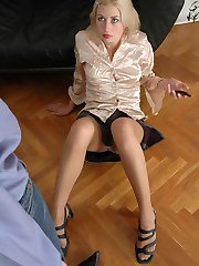 Lascivious secretary and police woman in silky tights revealing wild side