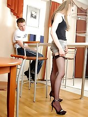 Wild doll in smooth black nylons worshipped and screwed right in the cafe